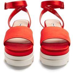 1fc1e623cda4 Miu Miu Bi-colour satin flatform sandals ( 495) ❤ liked on Polyvore  featuring