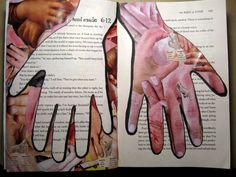 Day 12: Hand Made.  2-page Art Journal spread - collage of hands. #30DOC, @createstuff
