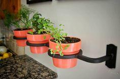 Indoor/Outdoor Herb Garden Flower Pot by TiredTruckerDesigns Herb Garden Design, Garden Pots, Garden Ideas, Flower Wall, Flower Pots, Unicorn Diy, Cooking Herbs, Fixer Upper Decor, Flower Holder
