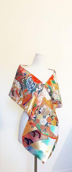 Vintage KIMONO Wedding shawl gold brocade multi color by Shantique