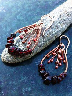 Beautiful wire & bead hoop earrings with dangles
