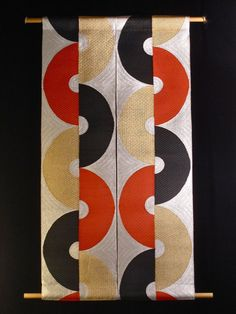 Macaroni -Original Wall Hanging made from Vintage 70's Japanese Obi.