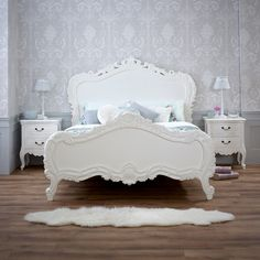 french chateau 6ft super king size white painted heavy carved bed more