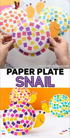 PAPER PLATE SNAIL 🐌  <br> This easy paper plate snail craft uses leftover scrap paper for the shell! You can easily make this with our snail template too! Paper Plate Crafts For Kids, Easy Paper Crafts, Fun Crafts For Kids, Easter Crafts, Paper Crafting, Wood Crafts, Quick Crafts, Baby Crafts, Easy Toddler Crafts
