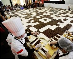 World Record QR Code cake preparation