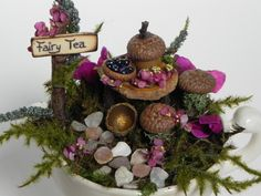 Creamer fairy house, fairy garden, miniatur garden, terrarium, indoor garden, fairy gift, fairy furniture, miniature furniture. by TinkerWhims on Etsy
