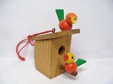 Vintage Wooden Ulbricht Erzgebirge Germany  Easter Spring Birds House Ornament