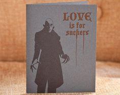 Love Is For Suckers Letterpress Card Nosferatu by bhletterpress, $5.00