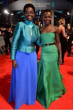 Actress Lupita Nyong'o and her mother, Dorothy Nyong'o attend the 2014 BAFTA Awards.