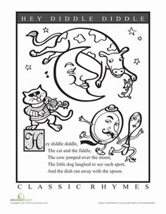 Preschool Fairy Tales Worksheets: Hey Diddle Diddle Coloring Page Worksheet