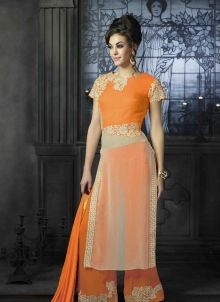 #Latest #Palazzo #Punjabi_Suit Orange