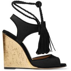 8e32c9eeffe3 Paul Andrew Tianjin tasseled suede-trimmed canvas wedge sandals ( 740) ❤  liked on
