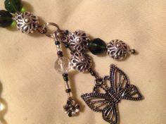 "Hunter Green Czech Glass Sz 32"" Hand Beaded Id Badge Lanyard Necklace DBJ~"