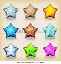 Funny Stars Icons For Game Ui/ Illustration of a set of funny comic stars icons, for game user interface and score display - stock vector