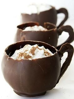 Chocolate tea cups- Dip a balloon in Slightly Cool melted chocolate, let harden on a sheet of parchment or wax paper, fill with icecream or a cold drink