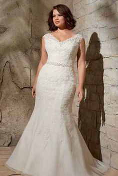 Alencon Lace Appliques On Net With Crystal Beading, Mori Lee by Madeline Gardner Julietta Collection