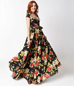 Retro 1970s Style Black & Floral Chiffon Maxi Dress
