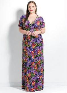 Vestido Longo (Floral) Decote V Plus Size #PlusSize