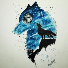 Colorful wolf drawing