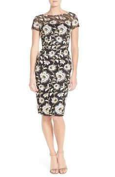 David Meister Embroidered Mesh Sheath Dress available at #Nordstrom