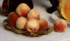 Henri Fantin-Latour 'Still Life with a Carafe, Flowers and Fruit' (detail) 1865 | by Plum leaves
