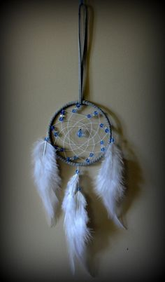 Grey Dream Catcher with blue glass beads. by DreamySummerNights, $7.00