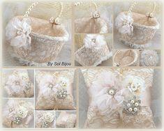 Flower Girl Basket Champagne Tan Beige Ivory Bridal di SolBijou