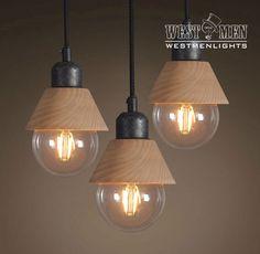 Pack of 3 Industrial Wooden Iron Pendant Light Hanging Lamp Fixture De – westmenlights--Edison industrial lighting supplier and designer Ceiling Light Fixtures, Wood Lamps, Lamp, Hanging Lamp Fixtures, Wooden Lamp, Ceiling Lamp Shades, Iron Pendant Light, Hanging Lights, Lounge Lamps