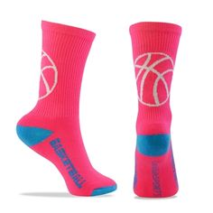 Basketball Half Cushioned Crew Socks - Pink/Blue (One Size Fits Most)