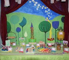 Tangled Rapunzel Party - painted popcorn, (root) beer, paper plate frying pans, 4x4 canvas, tower photo op, wanted poster photo op, apple picking game