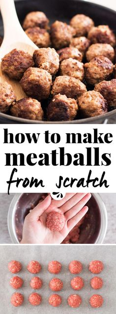 Do you always buy them in the frozen aisle, but secretly wish you knew how to make meatballs from scratch? Don't worry, these are the easy instructions you've been looking for! The mix is made with ground beef, breadcrumbs, egg and seasoning. You can either cook them in a skillet on the stovetop or bake them in the oven. Or freeze them to always have some homemade ones on hand for all the spaghetti sauce, soups and crock pot/slow cooker recipes your family loves to eat!
