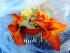 Orange Lily and Orchid Tropical Hair comb