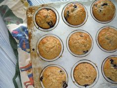 Banana blueberry muffins with buttermilk, honey, and OF oats