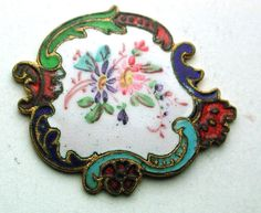 Antique French Enamel Button Hand Painted Flowers w/ Fancy Champlev Border