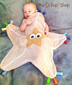 Starfish Baby Tag Blanket Lovey Pacifier Toy by SewDPopShop
