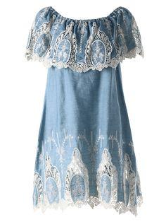Crochet Off The Shoulder Overlay Dress - LIGHT BLUE M Mobile