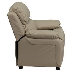 Child's Recliner Overstuffed Padding for Comfort Additional Headrest Cover Included Beige Vinyl Upholstery Easy to Clean Upholstery with Damp Cloth Flip-Up Storage Arms Storage Arm Size: 3.25''W x 6''D x 11''H - #recliner #storage #kids #sofa #kid #room #Storage #home #furniture