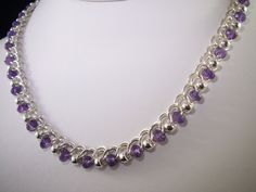 Items similar to Amethyst & Sterling Silver Half Persian Chainmaille Necklace OOAK on Etsy Jump Ring Jewelry, Wire Jewelry, Beaded Jewelry, Jewelery, Silver Jewelry, Handmade Jewelry, Unique Jewelry, Indian Jewelry, Silver Rings