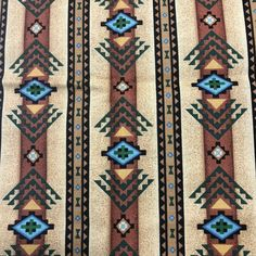 100/% Cotton Fabric-36x45-Brown background-Colorful Quilt Top Panel-M /& M