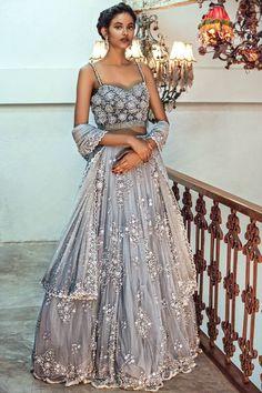 How stunning is this beaded grey net lehenga by Natasha Dalal #Frugal2Fab
