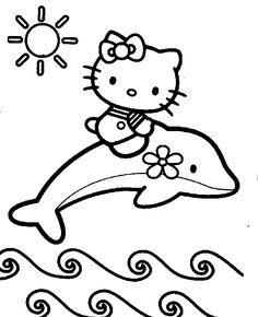 Hello Kitty Coloring Sheet Is Riding A Dolphin