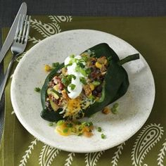 Fiery Stuffed Poblanos Recipe from Taste of Home -- shared by Amber Massey of Copell, Texas