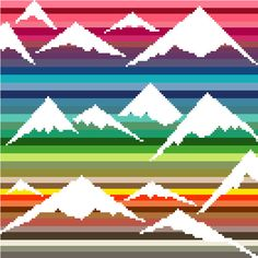 Negative space snow capped mountains on bright colours - Cross stitch chart by crossstitchtheline on Etsy