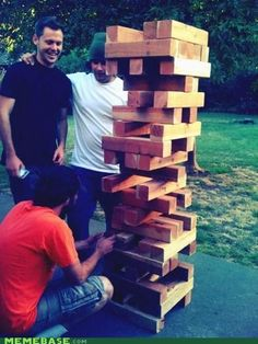 This would be perfect for a back yard party or a bonfire. Use wood blocks to play jenga.