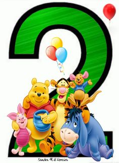 Winnie The Pooh Cake, Winnie The Pooh Birthday, Baby First Birthday Cake, 2nd Birthday, Numbers For Kids, Letters And Numbers, Birthday Scrapbook, Disney Family, Kids Cards