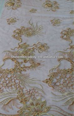 fancy tulle fabric with all over metallic embroidery lace design for dresses $5~$8