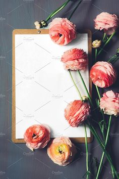 Flowers and blank card. Business Photos