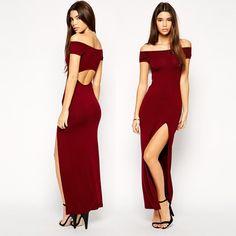 Slash Neck, Back Oval cutout long dress..