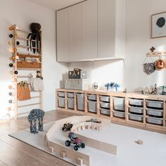 Creative Craft Storage Ideas for Small Spaces - Petit & Small Which Child Has .Creative Craft Storage Ideas for Small Spaces - Petit & Small Which child have a lot of art and craft Ikea Kids Playroom, Montessori Playroom, Playroom Organization, Baby Zimmer Ikea, Trofast Ikea, Wall Bar, Toy Rooms, Home And Deco, Baby Decor