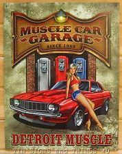 Muscle Car Pinup Detroit Garage TIN SIGN vtg gas pump art metal wall decor 1568